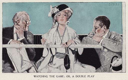 Woman playing her two suitors off against each other as she watches a baseball game. Illustration for Judge's Magazine, 1915.