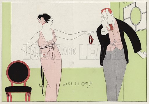 Woman accusing her husband of infidelity, a scene from the short story, Circumstantial Tokens, by J A Waldron. Illustration for Judge's Magazine, 1915.