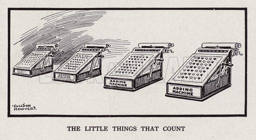 Row of adding machines. Illustration for Judge's Magazine, 1915.