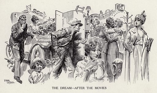 Woman daydreaming after a trip to the movies. Illustration for Judge's Magazine, 1915.