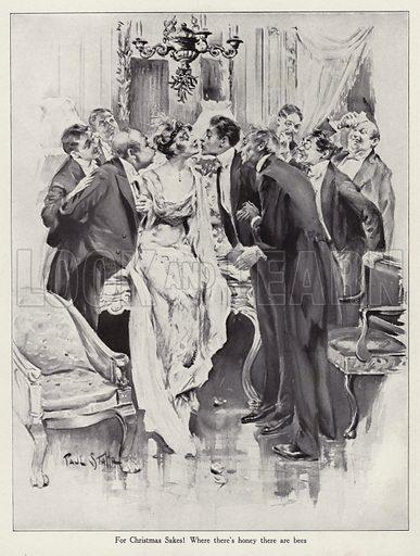 Men swarming around a beautiful woman under the Christmas mistletoe. Illustration for Judge's Magazine, 1915.