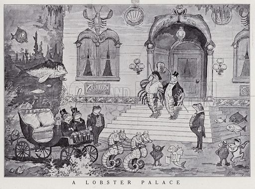 Lobster palace under the sea. Illustration for Judge's Magazine, 1915.