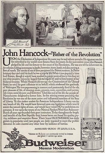 The story of John Hancock (1736-1793), advertisement for Budweiser beer. Illustration for Judge's Magazine, 1915.