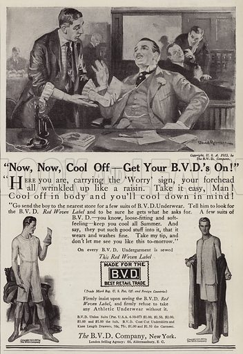 Advertisement for the BVD Company, men's underwear. Illustration for Judge's Magazine, 1915.