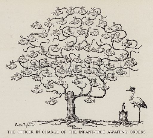 Stork in charge of the baby tree waiting for orders. Illustration for Judge's Magazine, 1915.