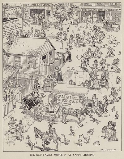 New family moving into a house at Yapp's Crossing. Illustration for Judge's Magazine, 1915.