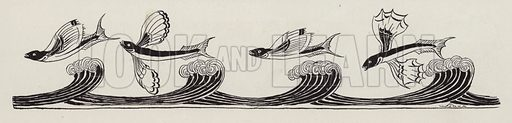 Flying fish above waves. Illustration for Judge's Magazine, 1915.