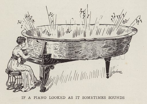 If a piano looked as it sometimses sounds. Woman playing a piano that sounds tinny like a bath. Illustration for Judge's Magazine, 1915.