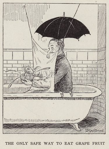 Man eating grapefruit in the bath. Illustration for Judge's Magazine, 1915.