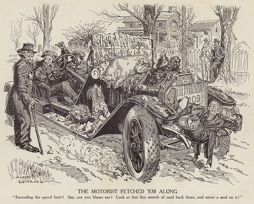 Cartoon mocking a man driving his car in excess of the speed limit. Illustration for Judge's Magazine, 1915.