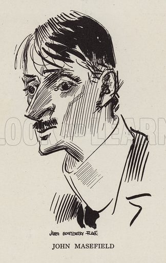 John Masefield (1878-1967), English poet and writer. Illustration for Judge's Magazine, 1915.
