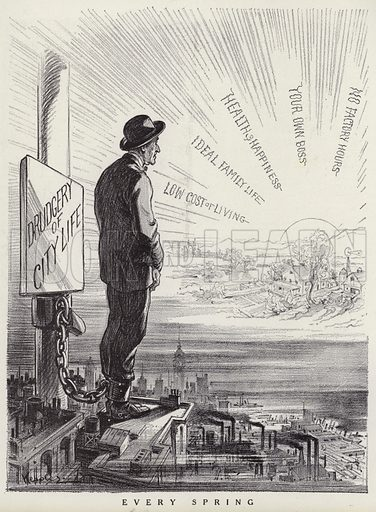 City worker dreaming of escaping to the country to start again. Illustration for Judge's Magazine, 1915.