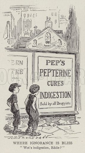 Two boys wondering what indigestion is. Illustration for Judge's Magazine, 1915.