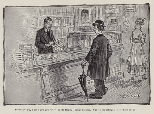 Bookseller offering a man a book on self defence instead of how to be happy in marriage. Illustration for Judge's Magazine, 1915.