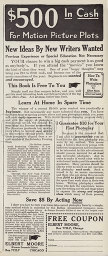 Advertisement for movie script writers. Illustration for Judge's Magazine, 1915.