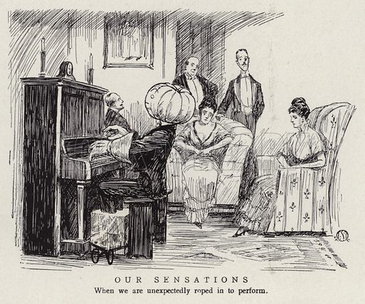 Man unable to perform on the piano after being unexpectedly asked to. Illustration for Judge's Magazine, 1915.