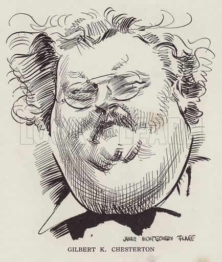 GK Chesterton (1874–1936), English writer and poet. Illustration for Judge's Magazine, 1915.