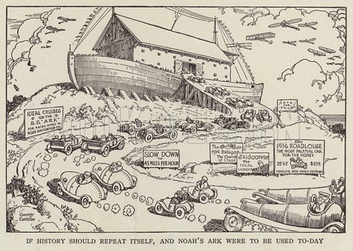 Noah's Ark reimagined in the era of motor cars and advertising. Illustration for Judge's Magazine, 1915.