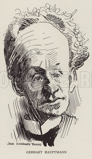 Gerhart Hauptmann (1862–1946), German novelist and dramatist. Illustration for Judge's Magazine, 1915.