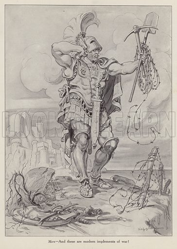Mars, the Roman god of war holding shovels and barbed wire used in trench warfare. Illustration for Judge's Magazine, 1915.