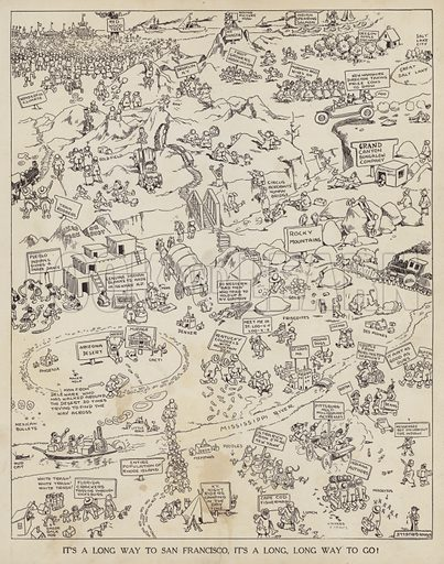 Cartoon depicting a journey to San Francisco across America. Illustration for Judge's Magazine, 1915.