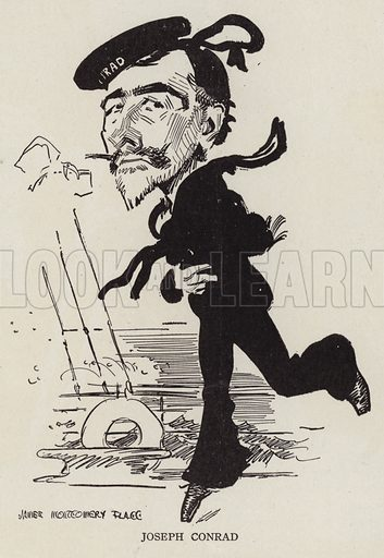 Joseph Conrad (1857-1924), Polish-British writer and novelist. Illustration for Judge's Magazine, 1915.
