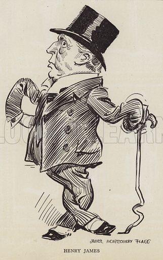 Henry James (1843-1916), American-British author. Illustration for Judge's Magazine, 1915.