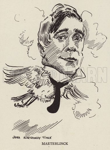 Maurice Maeterlinck (1862-1949), Belgian poet and playwright. Illustration for Judge's Magazine, 1915.