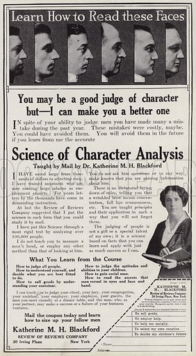 Advertisement offering character analysis and face reading tuition by Katherine Blackford. Illustration for Judge's Magazine, 1915.