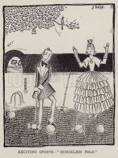 Man and woman playing croquet. Illustration for Judge's Magazine, 1915.
