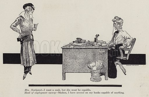 Newlywed woman on a visit to an employment agency looking for a cook. Illustration for Judge's Magazine, 1915.