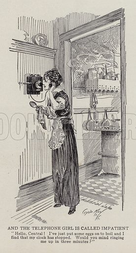 Woman calling the operator to help time her eggs. Illustration for Judge's Magazine, 1915.