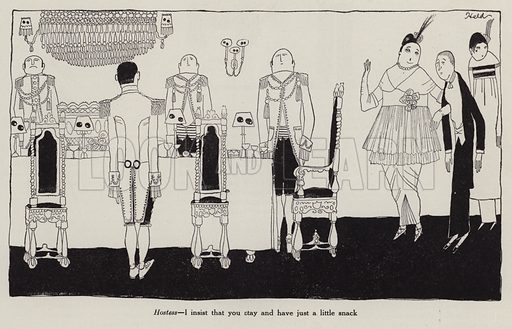 Hostess insisting her guest takes a snack from a banquet table. Illustration for Judge's Magazine, 1915.