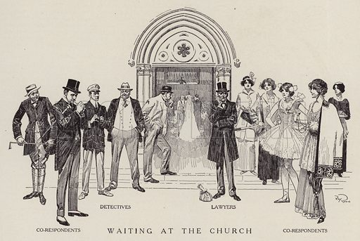 Detectives, lawyers and co-respondents waiting for a church wedding to finish. Illustration for Judge's Magazine, 1915.