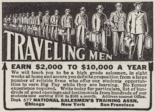 Advertisement offering to train people how to be travelling salesmen. Illustration for Judge's Magazine, 1915.