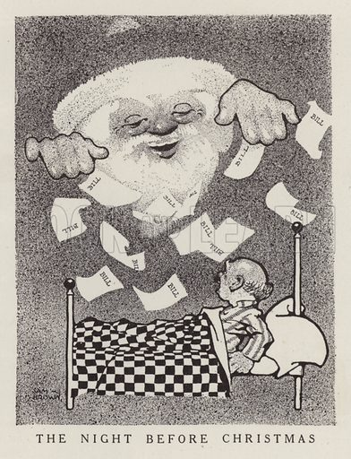 Man inundated with bills on the night before Christmas. Illustration for Judge's Magazine, 1915.