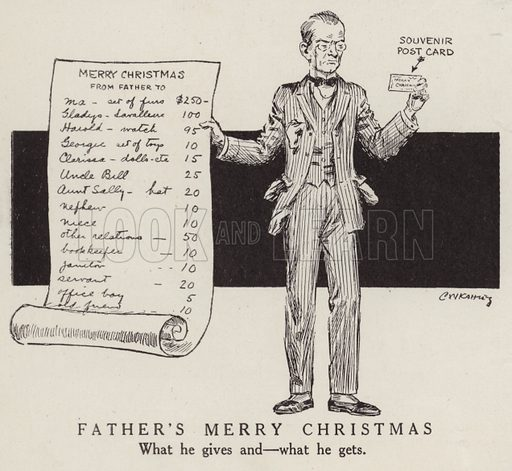 A father's generosity at Christmas is repaid with a souvenir post card. Illustration for Judge's Magazine, 1915.