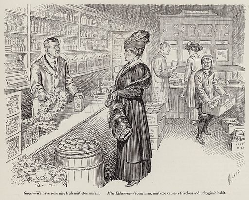 Young male grocer trying to sell mistletoe to a disapproving older female customer. Illustration for Judge's Magazine, 1915.