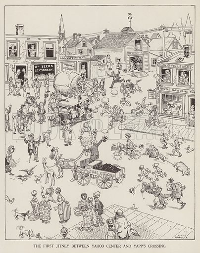 Cartoon depicting the first jitney (taxi) between Yahoo Centre and Yapp's Crossing. Illustration for Judge's Magazine, 1915.