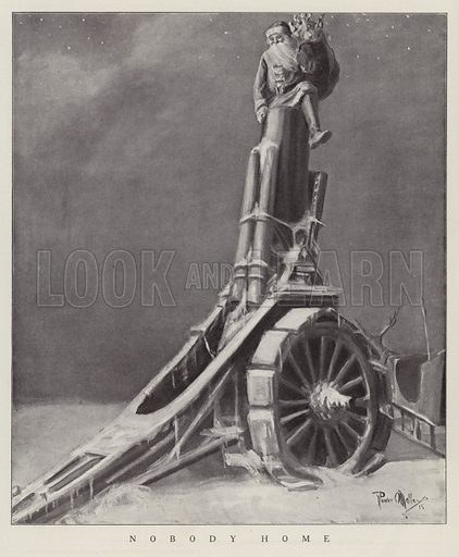 Father Christmas mistaking the barrel of an artillery gun for a chimney. Illustration for Judge's Magazine, 1915.