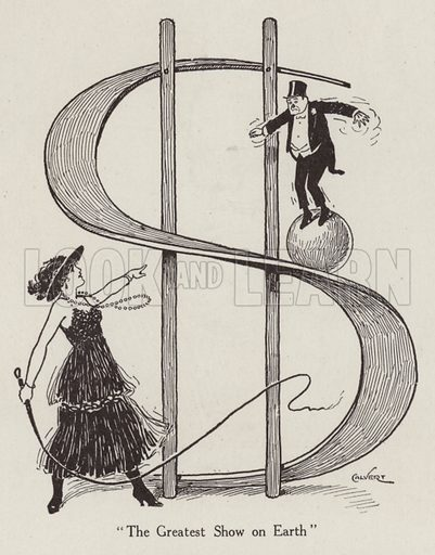 Circus act, balancing on a ball while sliding down dollar sign. Illustration for Judge's Magazine, 1915.