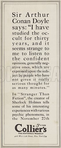 Advertisement for Sir Arthur Conan Doyle's article, Stranger Than Fiction, published in Collier's, The National Weekly. Illustration for Judge's Magazine, 1915.