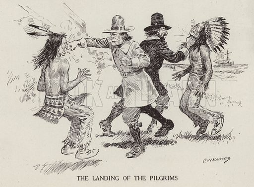 The Pilgrim Fathers arriving in the United States. Illustration for Judge's Magazine, 1915.