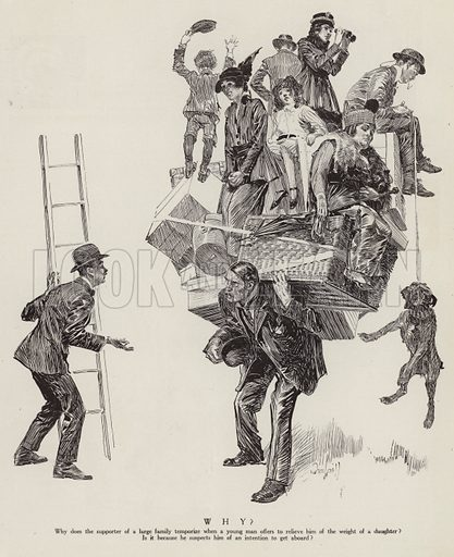 Man's burden of supporting a large family. Illustration for Judge's Magazine, 1915.