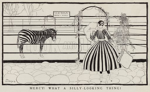 Woman in a striped dress and a zebra looking at each other. Illustration for Judge's Magazine, 1915.