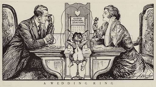 Cupid orchestrating a phone call between a man and a woman. Illustration for Judge's Magazine, 1915.