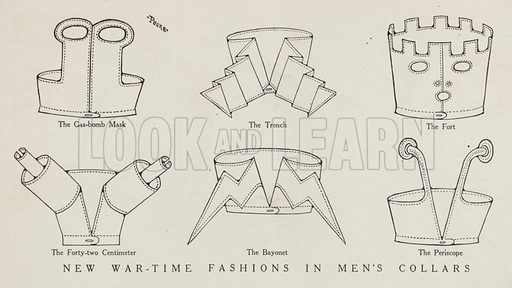 New wartime fashions in men's collars. Illustration for Judge's Magazine, 1915.
