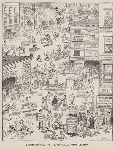 People going to the movie theatre at Yapp's Crossing. Illustration for Judge's Magazine, 1915.