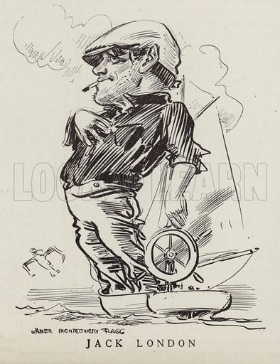 Jack London (1876-1916), American novelist and writer. Illustration for Judge's Magazine, 1915.