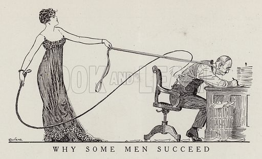 Woman with a whip forcing a man to work. Illustration for Judge's Magazine, 1915.